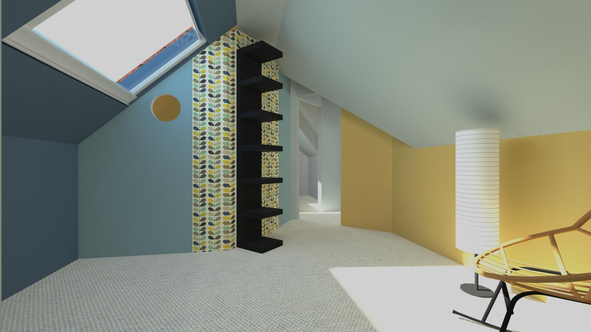 Chambre dans combles - La Fabrique Geneviève Naudin