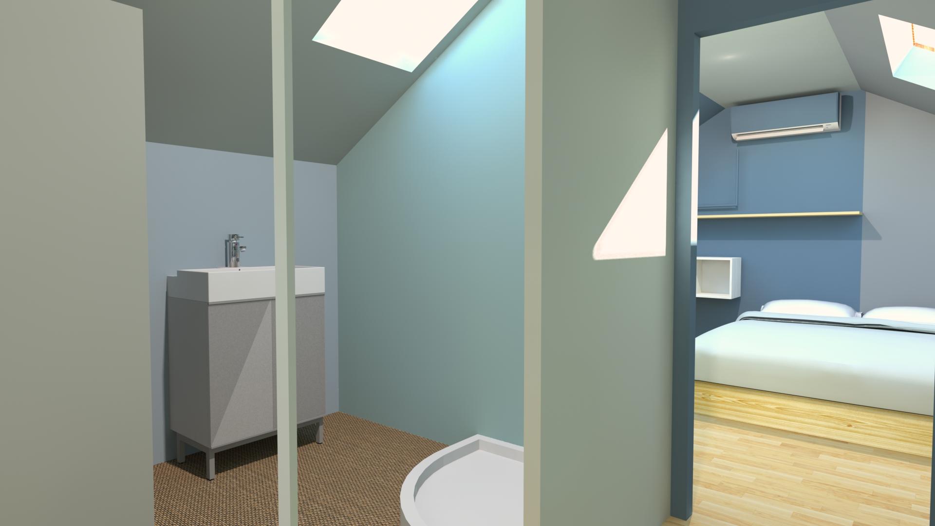 Salle de bains dans comble - La Fabrique Geneviève Naudin